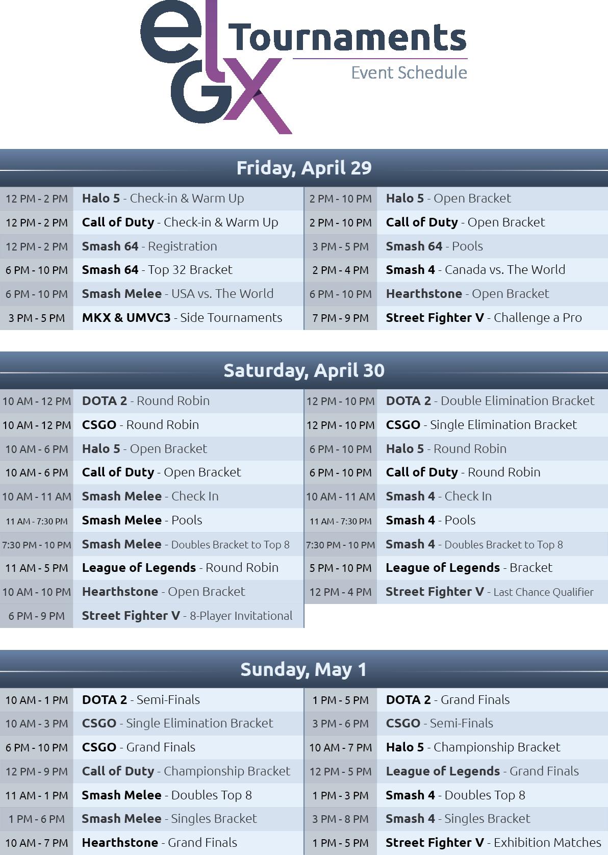 EGLX Schedule