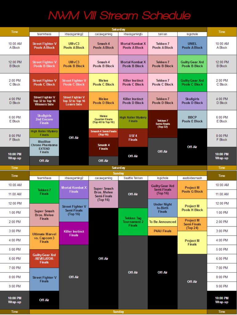 Northwest Majors 8 Schedule