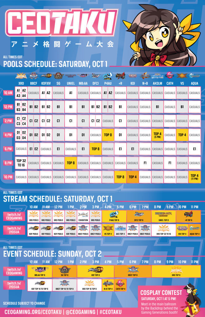 CEOtaku 2016 Schedule 1 out of 1 image gallery