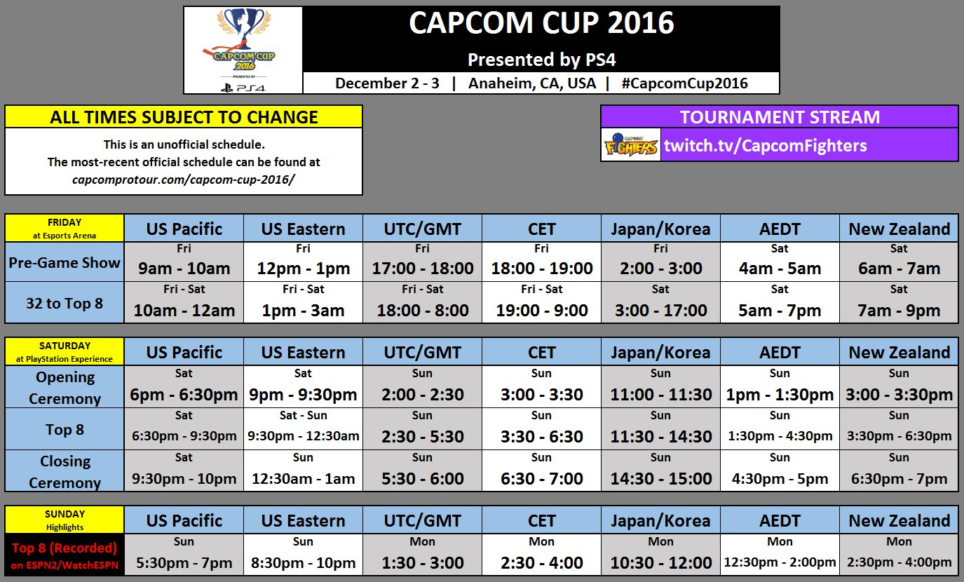 Capcom Cup Schedule 1 out of 1 image gallery