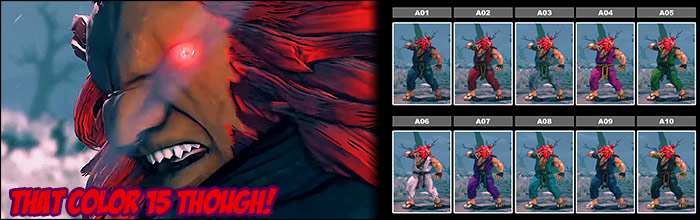 All colors for Akuma's standard, premium, story and