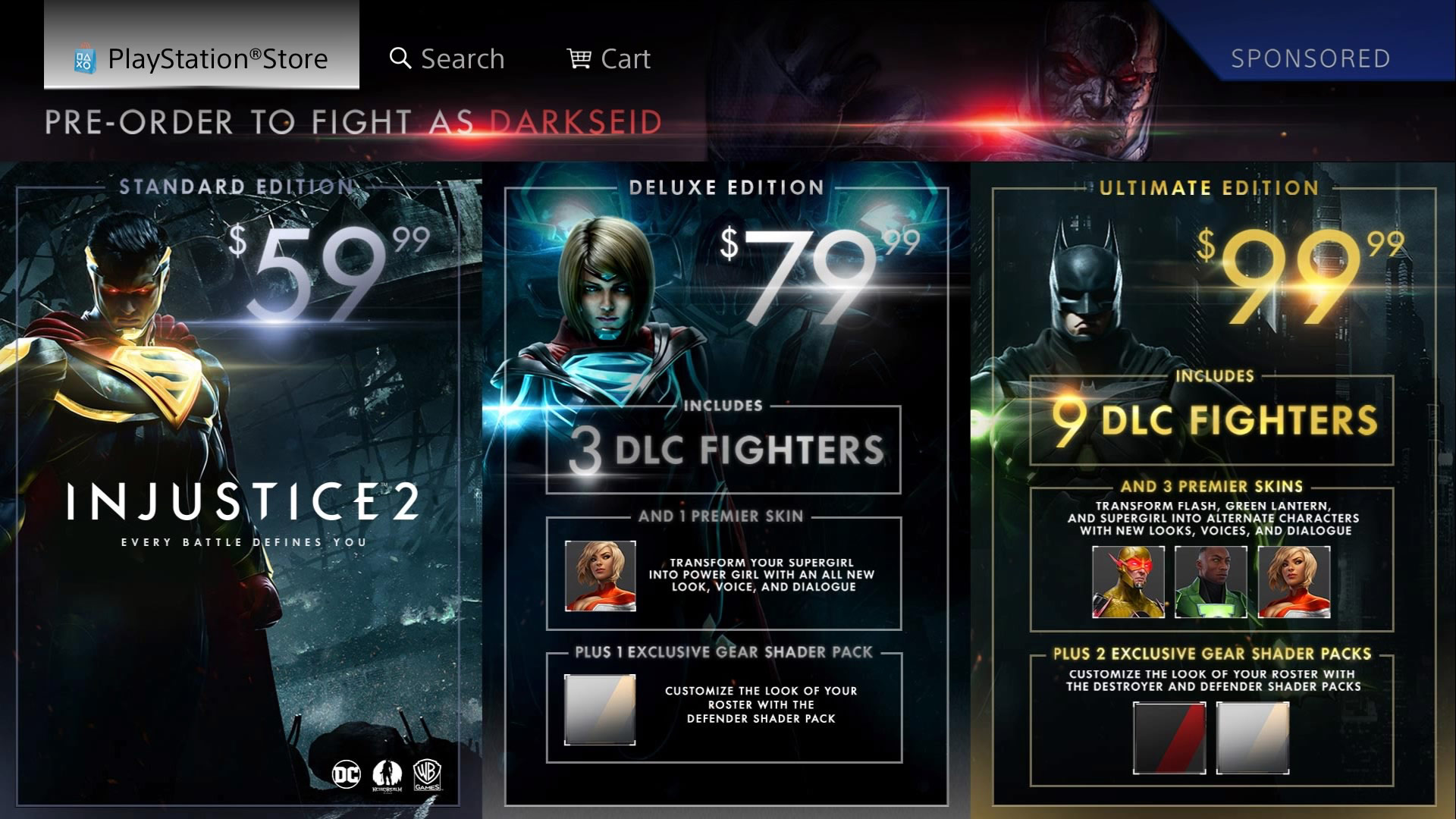 Injustice 2's purchase options 1 out of 1 image gallery