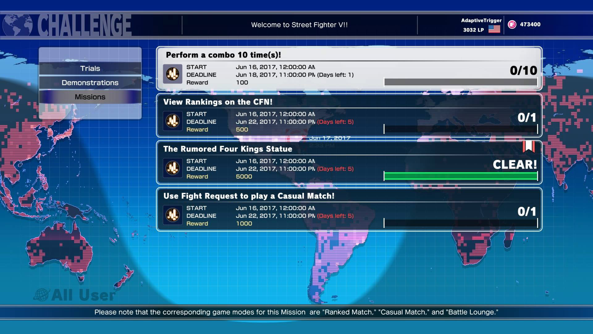 Street Fighter 5 Missions 06/17/17 1 out of 1 image gallery