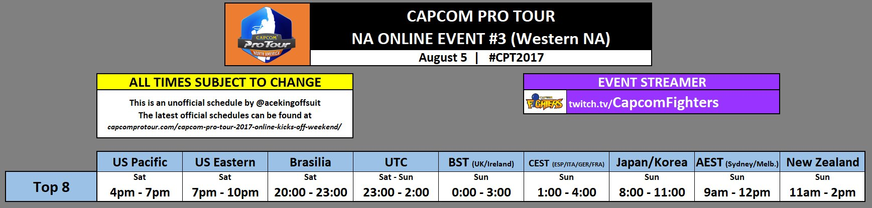 Capcom Pro Tour Online Event Schedule 1 out of 1 image gallery