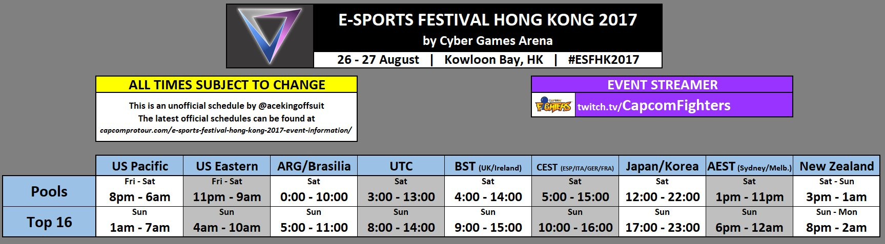 Hong Kong eSports Festival 2017 Schedule 1 out of 1 image gallery