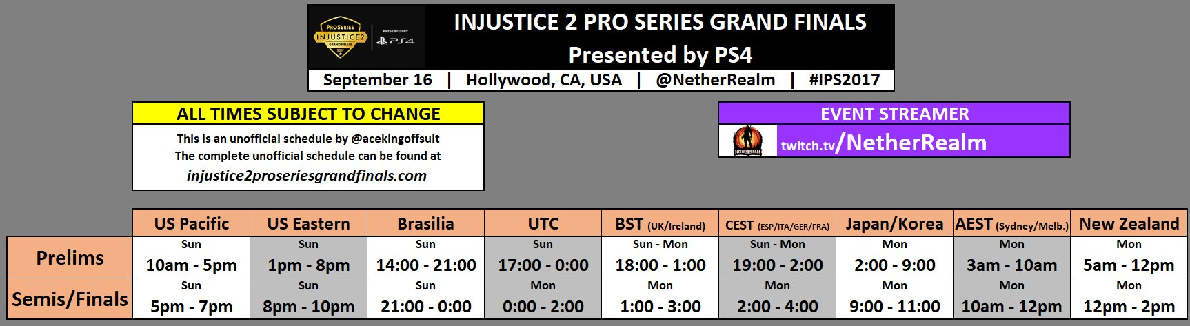 2Pm Bst To Aest injustice 2 pro series grand finals schedule 1 out of 1