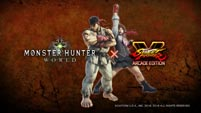 Street Fighter's Ryu and Sakura in Monster Hunter World image #1