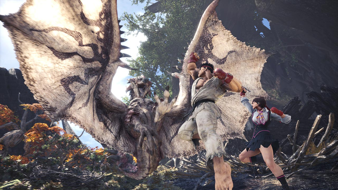 Street Fighter's Ryu and Sakura in Monster Hunter World 2 out of 5 image gallery