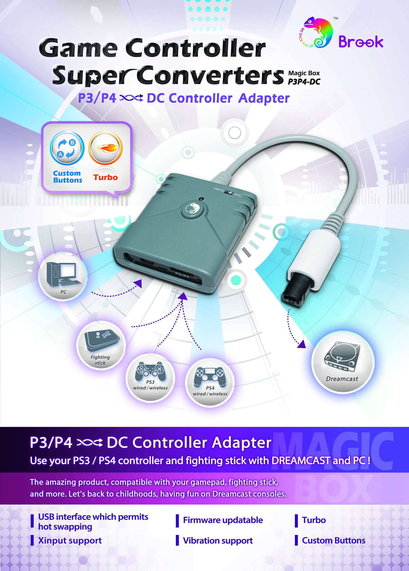 Brook PS3 / PS4 to Dreamcast controller converter 2 out of 2 image gallery