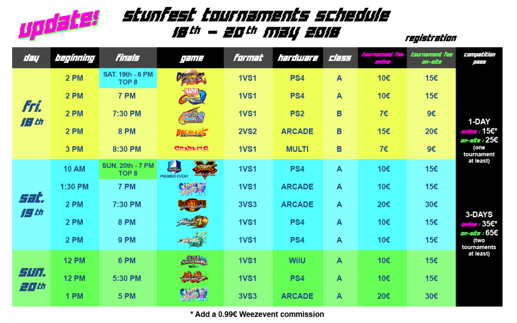 Stunfest 2018 Event Schedule 1 out of 1 image gallery