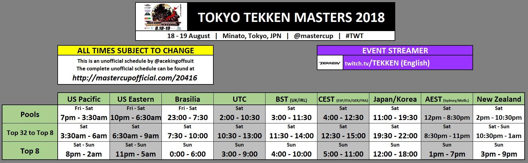 Tokyo Tekken Masters Event Schedule 1 out of 1 image gallery