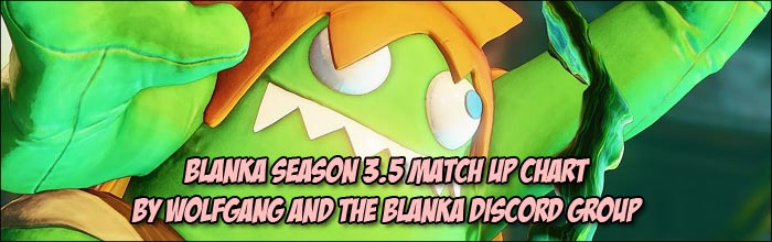 Blanka match up chart released for Street Fighter 5: Arcade