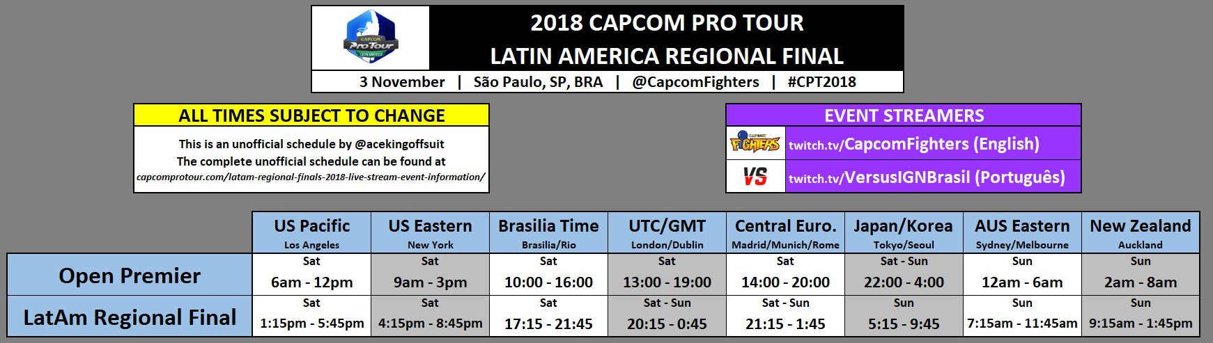 Capcom Pro Tour Latin America Event Schedule 1 out of 1 image gallery