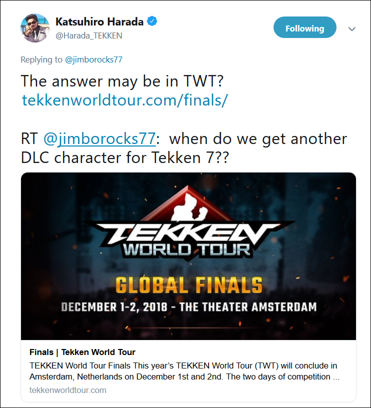 Harada on Tekken 7's next DLC 1 out of 1 image gallery