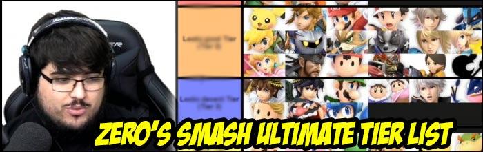 ZeRo releases his pre-release tier list for Super Smash Bros