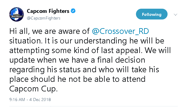 Crossover no longer competing at Capcom Cup 2018 2 out of 2 image gallery