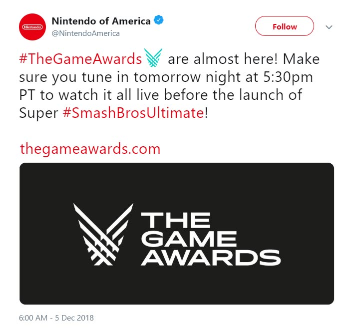 Nintendo tells fans to watch The Game Awards 1 out of 1 image gallery