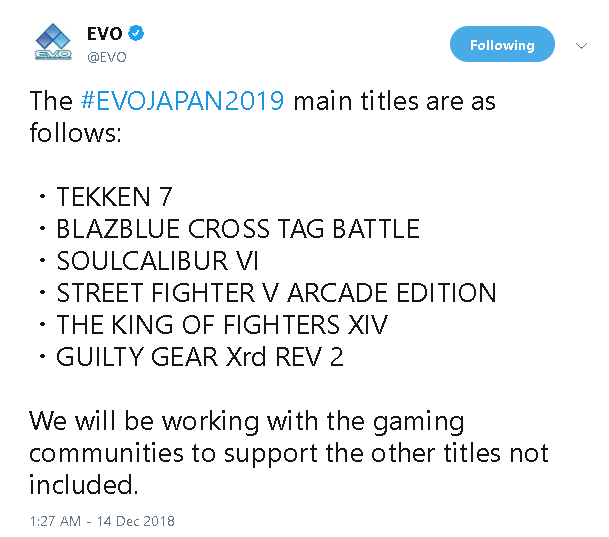 EVO Japan 2019 line up 1 out of 1 image gallery