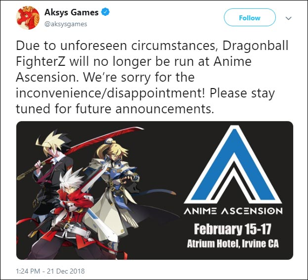 Dragon Ball FighterZ event cancelled at Anime Ascension 1 out of 5 image gallery