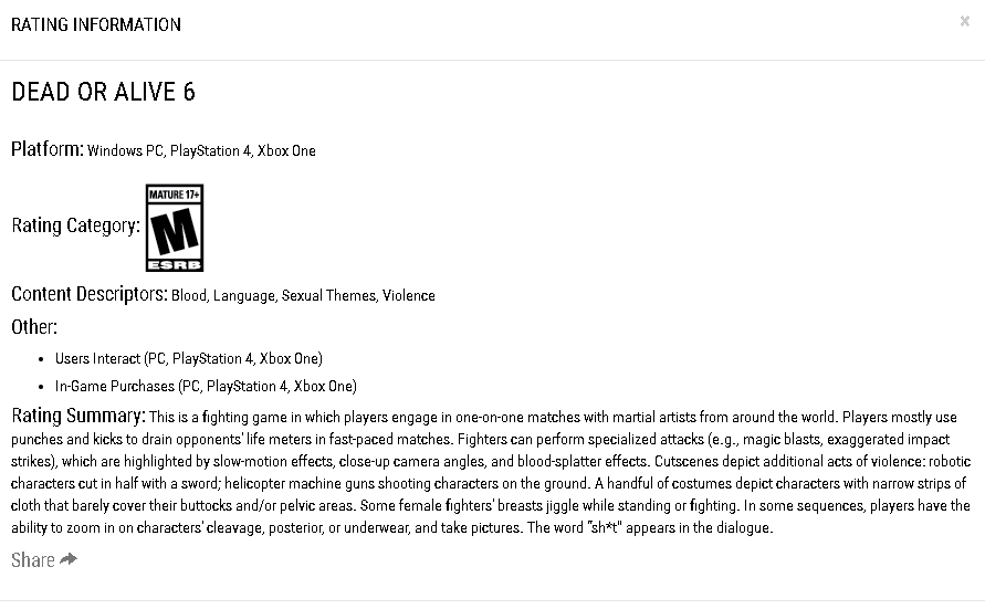 Dead or Alive 6 ESRB listing 1 out of 1 image gallery