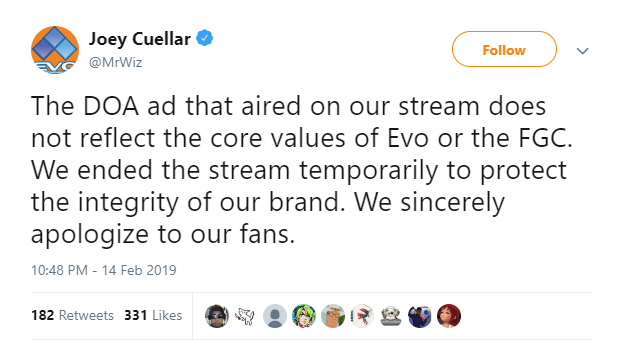 Mr. Wizard's tweet about Dead or Alive 6 incident at EVO Japan 1 out of 1 image gallery