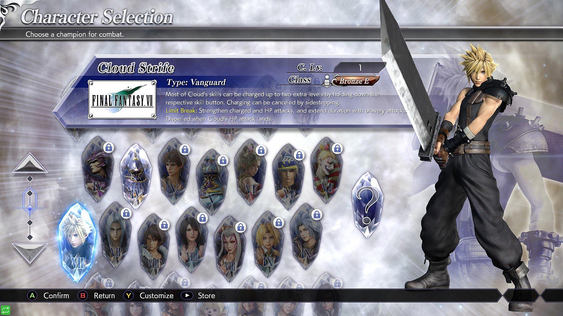 dissidia final fantasy nt free characters