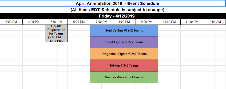 April Annihilation 2019 schedule 1 out of 3 image gallery