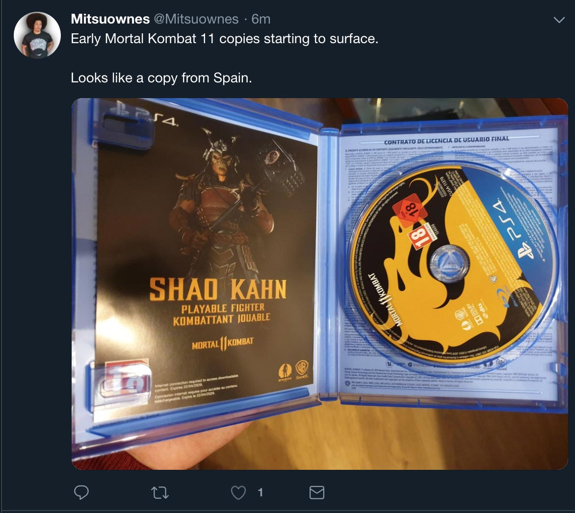 Mortal Kombat 11 disc 1 out of 1 image gallery