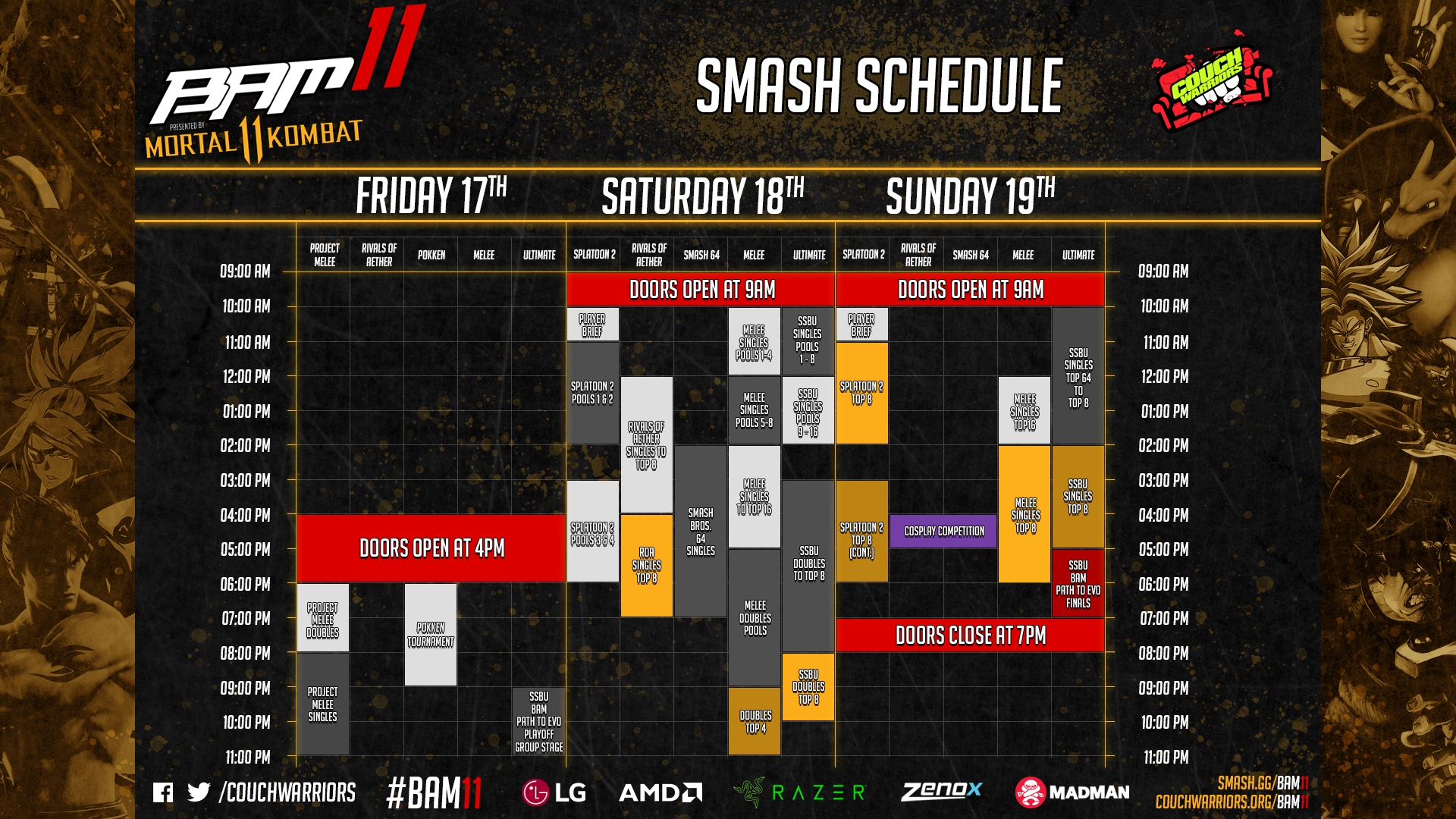 BAM 11 Event Schedule 1 out of 2 image gallery