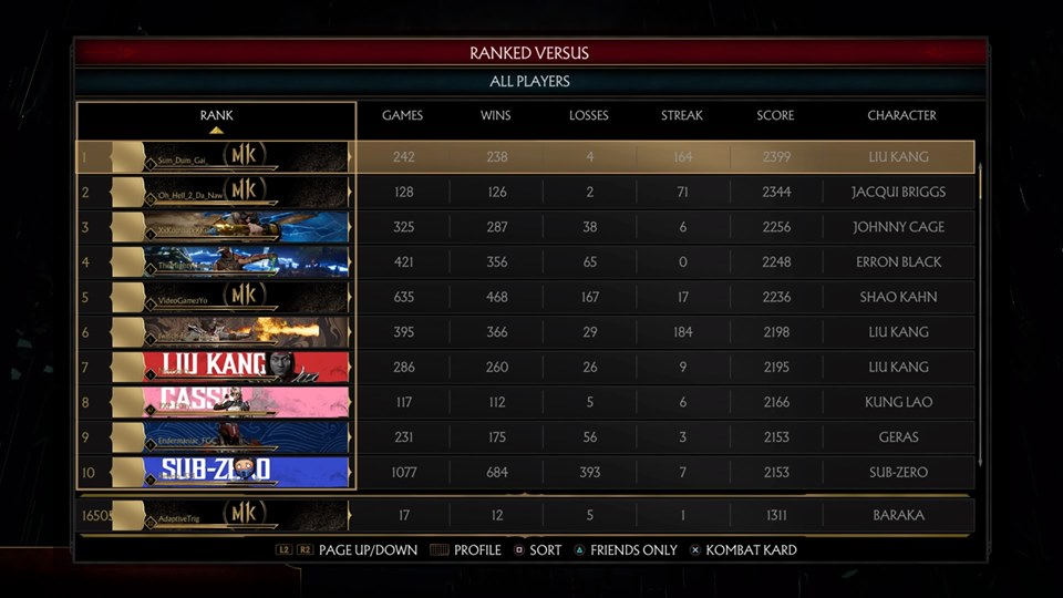 Mortal Kombat 11 online top 100 ranked 06/10/19 1 out of 10 image gallery