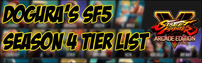 Dogura shares his Street Fighter 5 Season 4 tier list