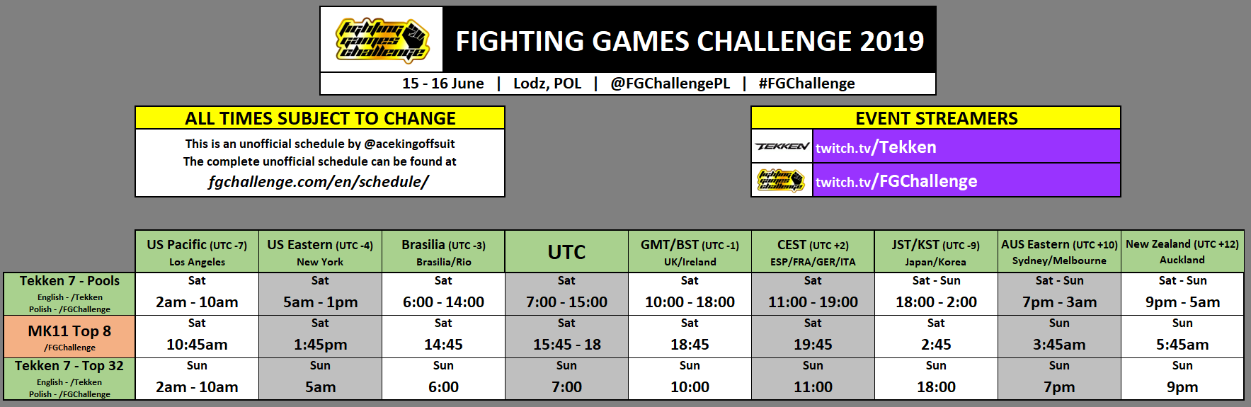 Fighting Games Challenge 2019 Event Schedule 1 out of 1 image gallery