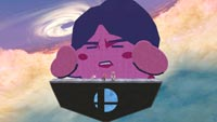 Kirby inhales Masahiro Sakurai in Super Smash Bros. Ultimate created stage image #1