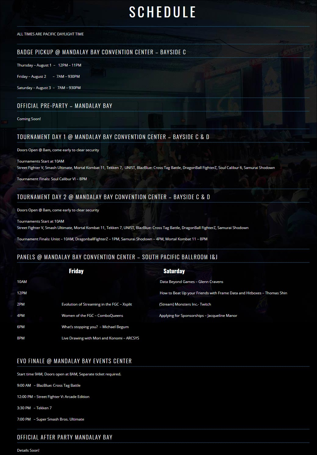 EVO Schedule and Commentators 1 out of 2 image gallery
