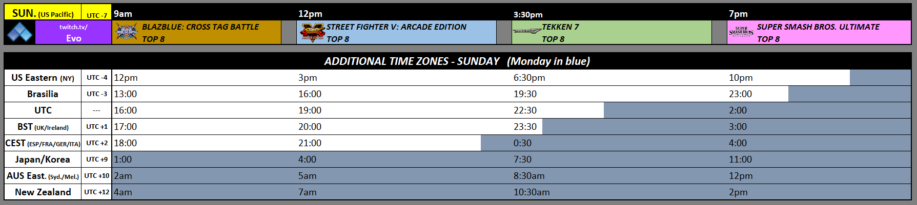 EVO 2019 Event Schedule 3 out of 3 image gallery