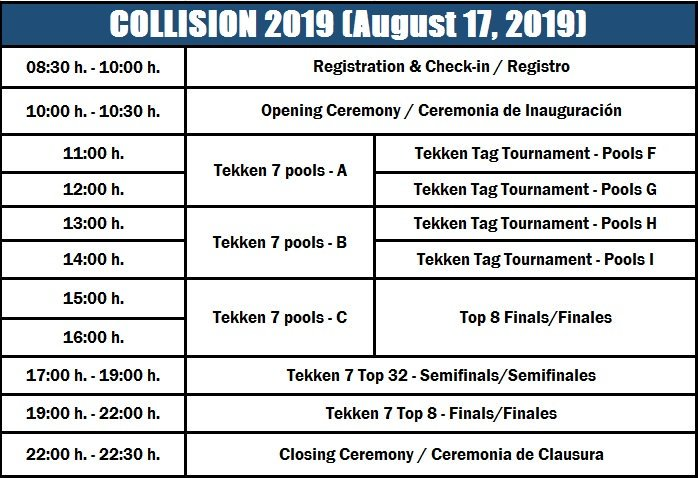 Collision 2019 Event Schedule 1 out of 1 image gallery