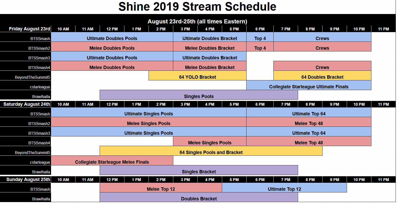 Shine 2019 Event Schedule 1 out of 1 image gallery