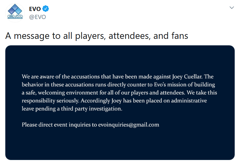 EVO statement on Joey Cuellar 1 out of 1 image gallery