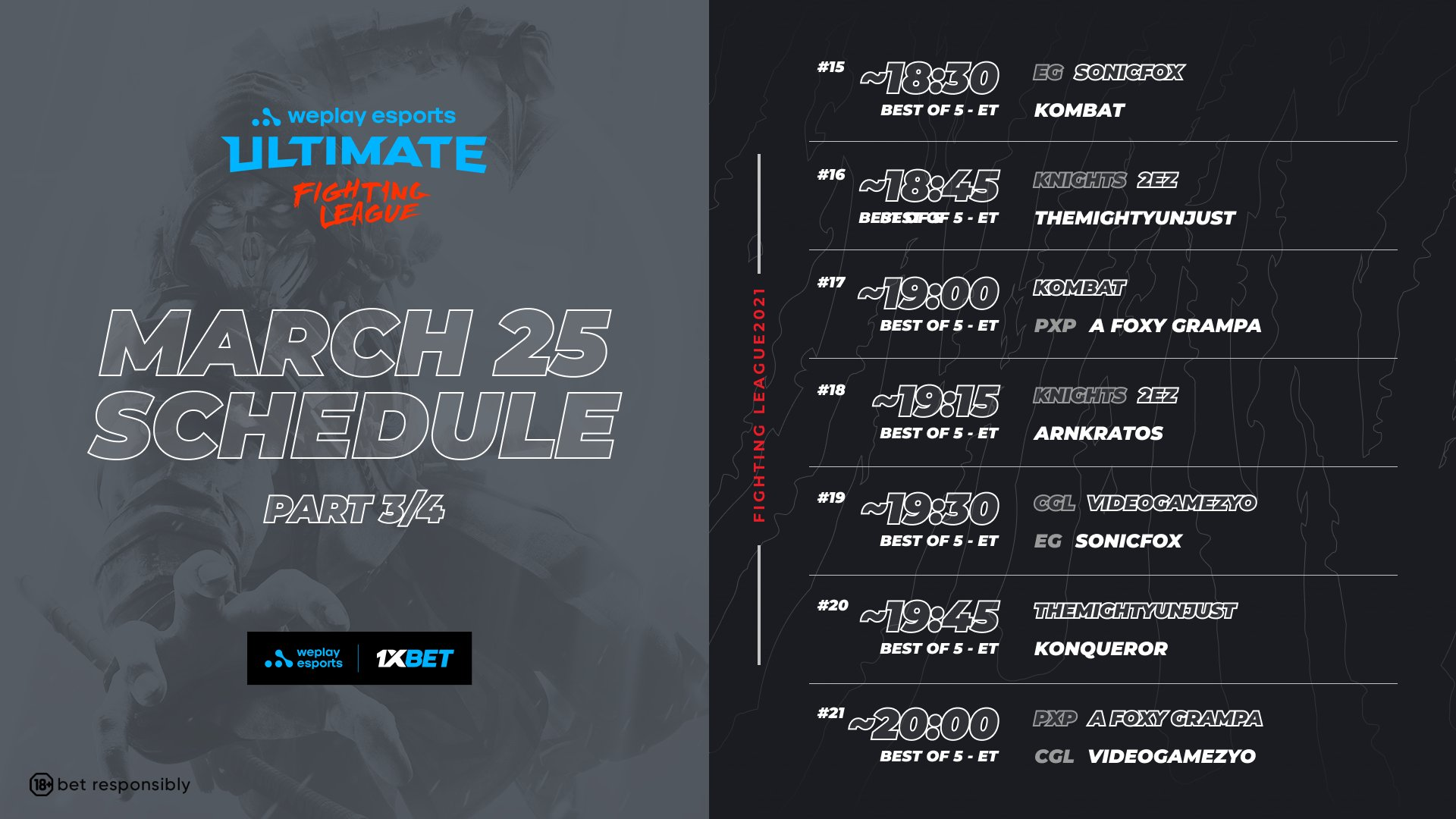 WePlay Ultimate Fighting League Season 1 Mortal Kombat Event Schedule Day 1 3 out of 4 image gallery