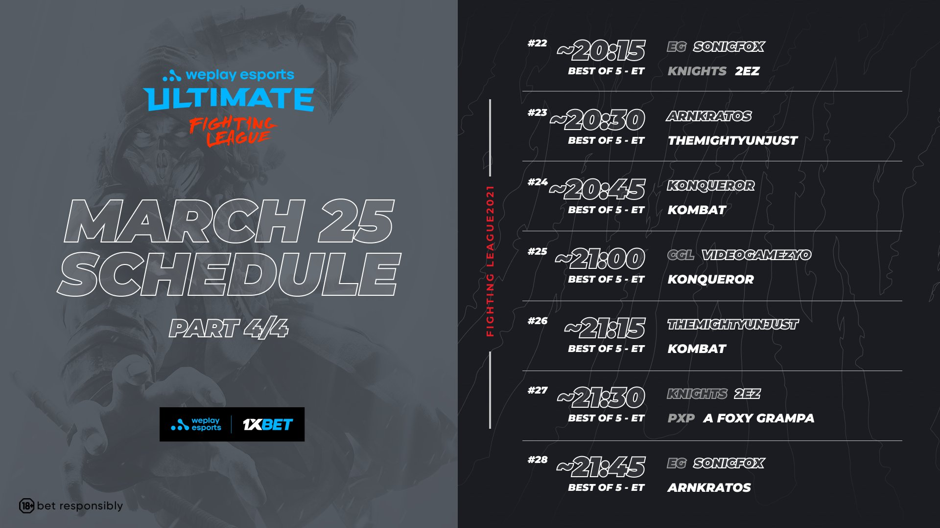 WePlay Ultimate Fighting League Season 1 Mortal Kombat Event Schedule Day 1 4 out of 4 image gallery