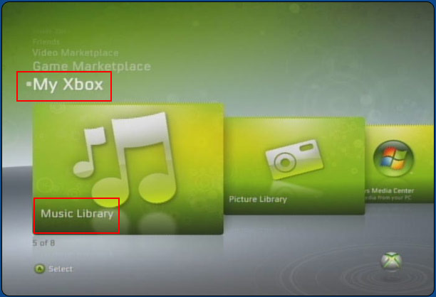 Music Library tab on the XBox Live interface screen