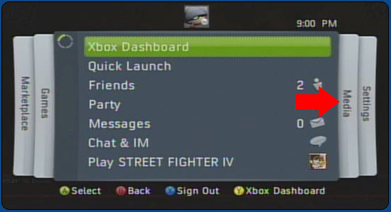 XBox 360 Guide Screen