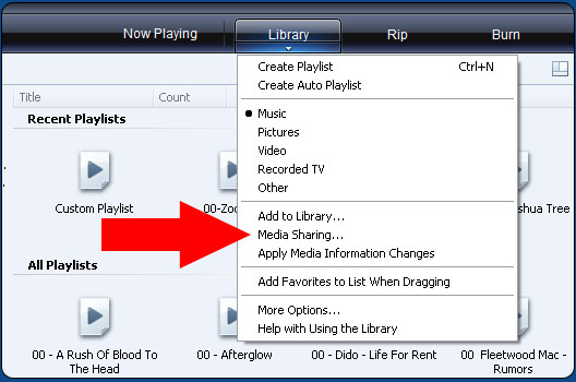 Windows Media Player 11 Library Media Share