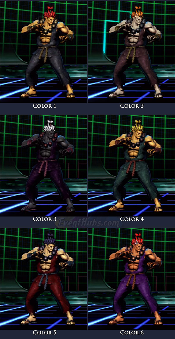 Akuma's main costume colors in Marvel vs. Capcom 3