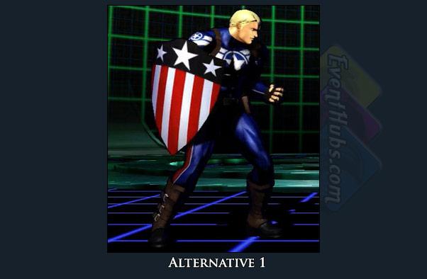 Captain America's alt costume color in Marvel vs. Capcom 3