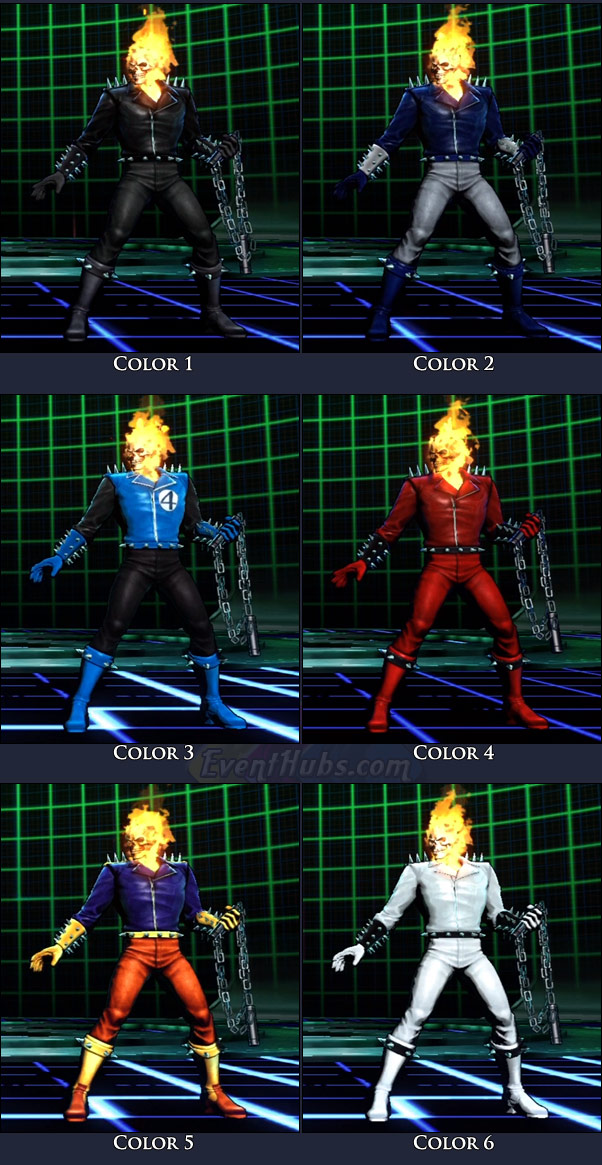 Ghost Rider's main costume colors in Marvel vs. Capcom 3