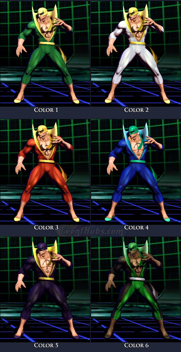Iron Fist's main costume colors in Marvel vs. Capcom 3