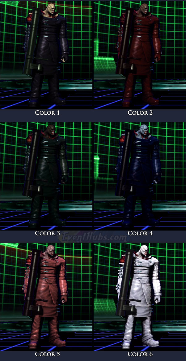 Nemesis' main costume colors in Marvel vs. Capcom 3