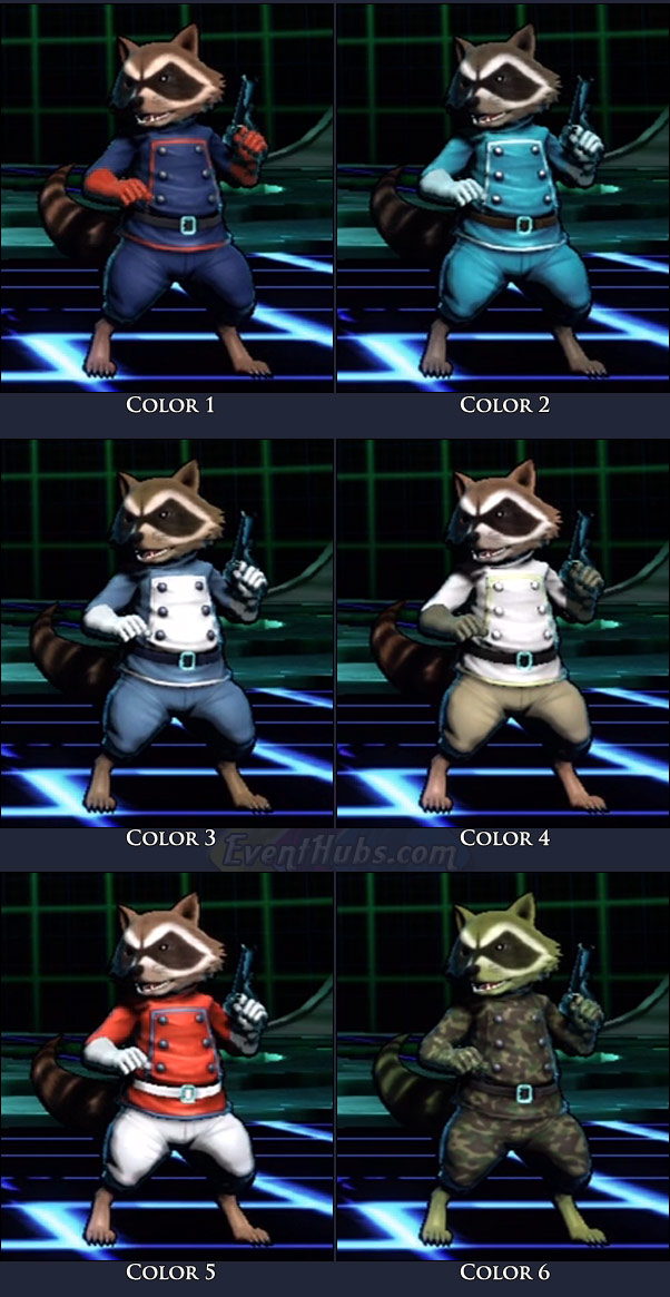 Rocket Raccoon's main costume colors in Marvel vs. Capcom 3
