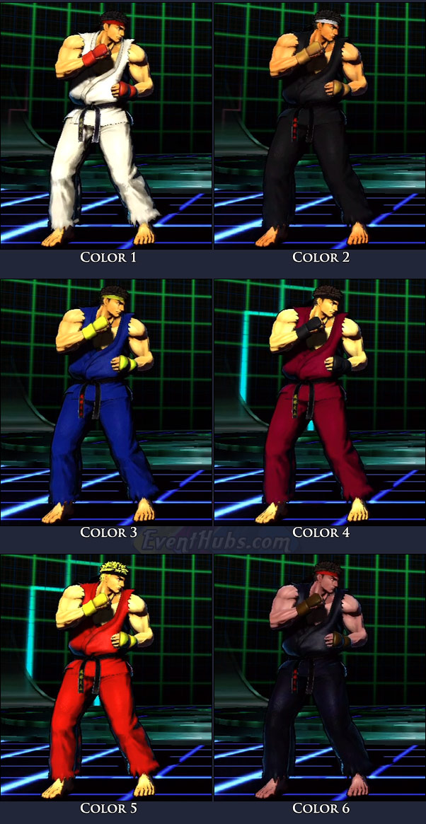 Ryu's main costume colors in Marvel vs. Capcom 3